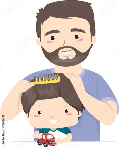 Man Dad Kid Boy Combing Hair Illustration Buy This Stock Vector And Explore Similar Vectors At Adobe Stock Adobe Stock