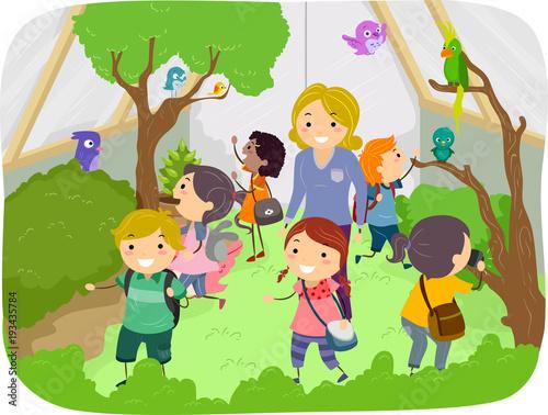 Stickman Kids Aviary Explore Illustration Tapéta, Fotótapéta