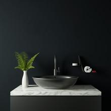 Dark Bathroom With Plant And Vase 3d Rendering