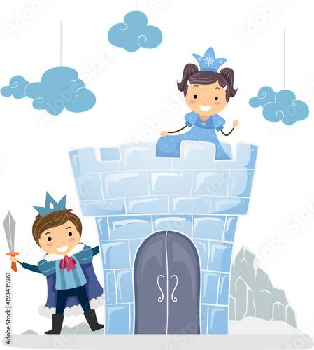 Fototapeta Stickman Kids Ice Princess Castle Illustration