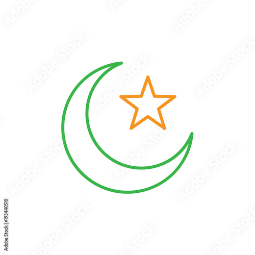 Islam Symbol Crescent Moon And Star Simple Monoline Icon Style For