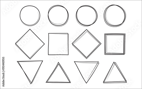 Papel de parede Set of the hand drawn scribble circle and square and triangle