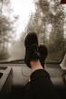 Feet in a car