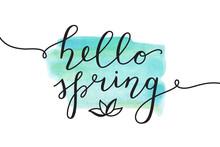 Hello Spring, Vector Lettering...