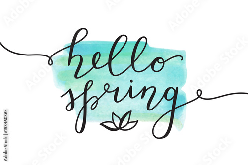 hello spring, vector lettering and flower, spring card with handwritten text Canvas Print