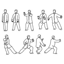 Nine Forms Of Tai-chi. Men Wear Traditional Chinese Cloths Vector Illustration Sketch Hand Drawn With Black Lines, Isolated On White Background