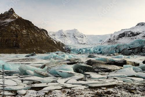 Poster Glaciers frozen landscape at vatnajokull glacier, Iceland