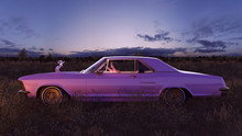 Pink 1970s American Classic Car In A Field At Sunset With Sniper Rifle On The Hood And A Relaxing Woman With Black Hair And Pink Sunglasses Sitting Inside 3d Illustration
