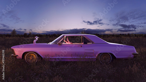 Fototapeta Pink 1970s American Classic Car in a Field at Sunset with Sniper Rifle on the Ho