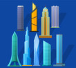 Skyscrapers icons set in detailed flat style. Modern and old skyscrapers.
