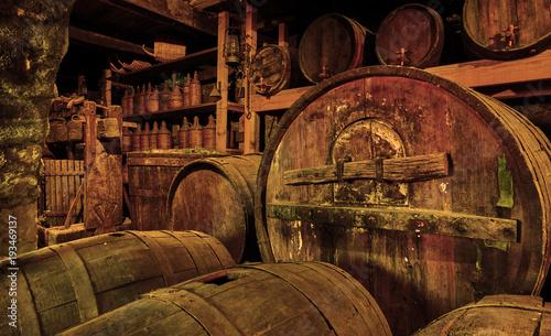 Cuadros en Lienzo Wine barrels in old cellar
