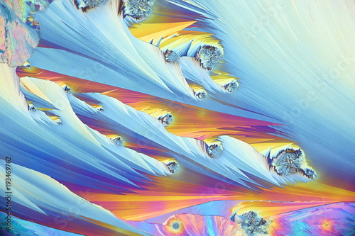 Photo Art and science, microscope image of crystals of paracetamol