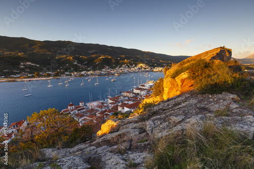View of Poros island and Galatas village in Peloponnese, Greece Canvas Print