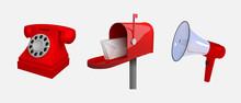 Phone, Mail Box, Megaphone. Me...