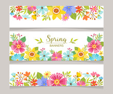 Spring Horizontal Banner Templ...