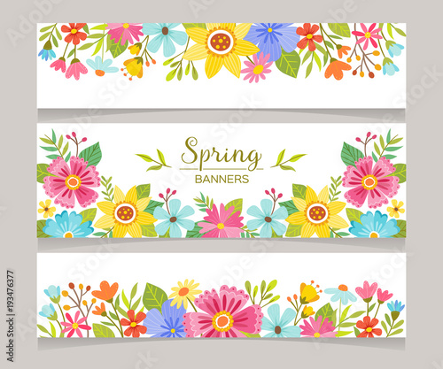 spring horizontal banner templates with colorful flowers