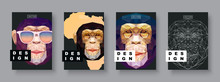 Monkey Abstract Covers Set. Card Monkey Template. Futur Poster Template. Polygonal Halftone. Monkey Face Silhouette.