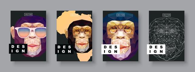 Fototapeta Monkey abstract covers set. Card monkey template. Futur Poster template. Polygonal halftone. Monkey face silhouette.