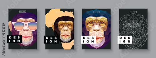 Monkey Template | Monkey Abstract Covers Set Card Monkey Template Futur Poster