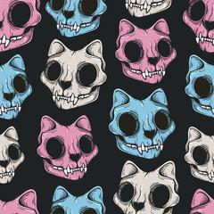 Tapeta Cat skull seamless pattern. Scary background. Line art. Modern background