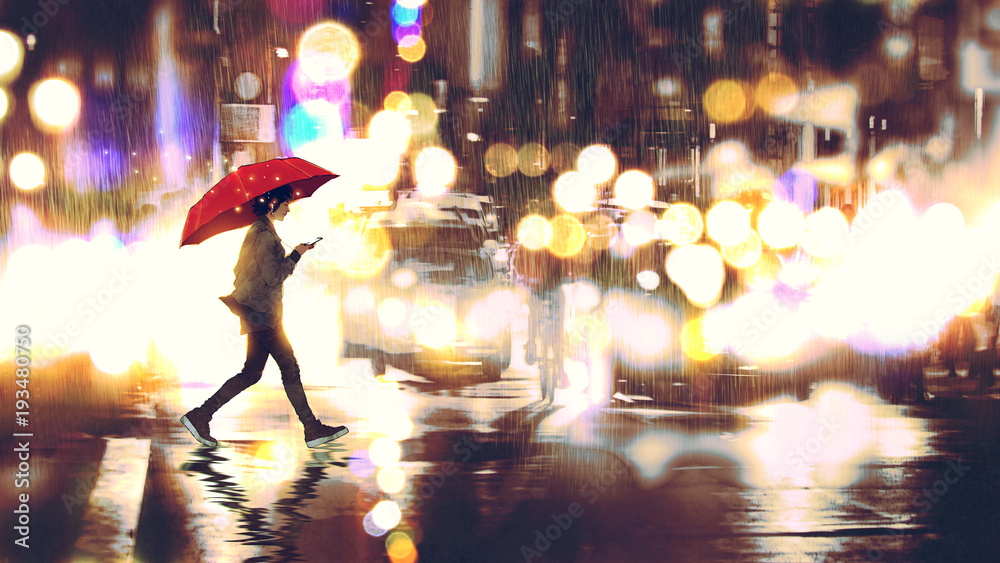 Fototapety, obrazy: young woman listening to music on her phone and holding a red umbrella crossing a city street in the rainy night, digital art style, illustration painting