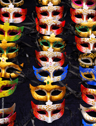 Carnival masks in Cadiz, shop on the street, Spain Canvas Print