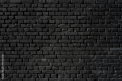 Garden Poster Brick wall Black wall as background, texture of a black brick wall