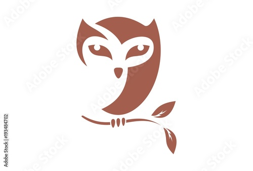 Poster Uilen cartoon brown owl logo vector