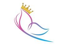 Queen Butterfly Logo Vector