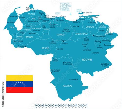 Fotomural Venezuela - map and flag - Detailed Vector Illustration