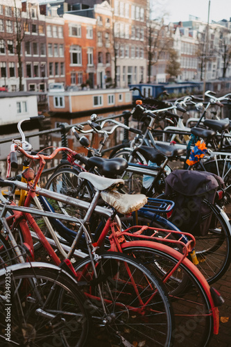 rows of bikes on an amsterdam canal Wallpaper Mural