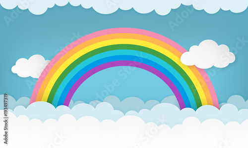 Cartoon Cloudscape Background With Paper Clouds And Rainbow