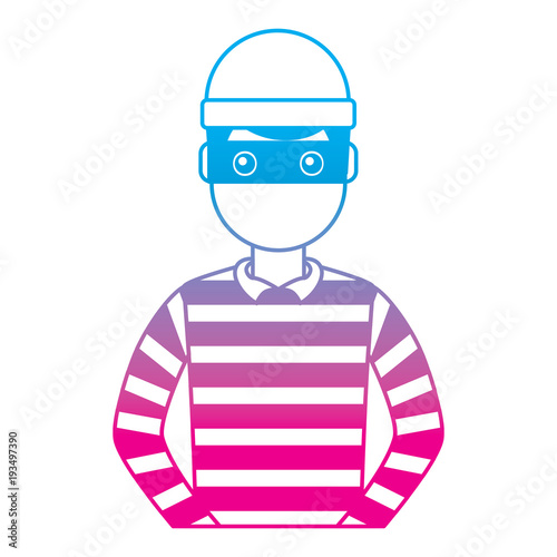 Cuadros en Lienzo male thief avatar mask cap and striped clothes vector illustration degrade color