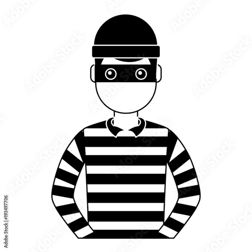male thief avatar mask cap and striped clothes vector illustration black and whi Canvas Print