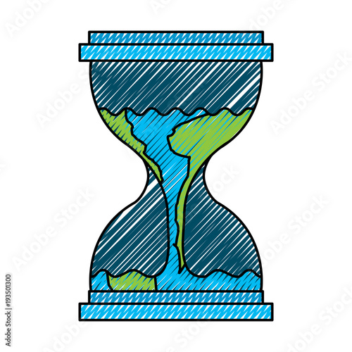 hourglass with a earth globe flowing melting vector