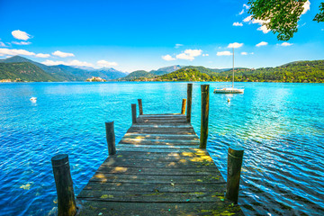 Orta Lake landscape. Wooden...