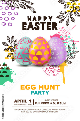 Easter egg hunt party vector poster design template 3d decorative easter egg hunt party vector poster design template 3d decorative egg on watercolor splashes abstract stopboris Images