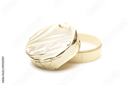 Beautiful Round of Soft Cheese with Gold Foil Wrapper