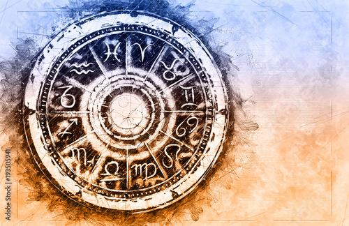 Carta da parati Zodiac sign horoscope cirlce on grunge background