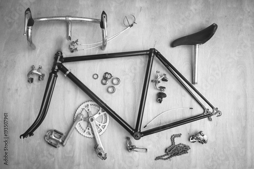 Foto op Plexiglas Fietsen Vintage bicycle parts