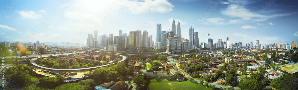 Fototapety, obrazy: Panorama cityscape view in the middle of Kuala Lumpur city center ,day time , Malaysia .