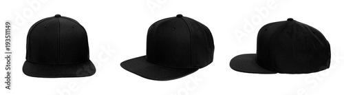 Stampa su Tela  Blank baseball snap back cap color black on white background
