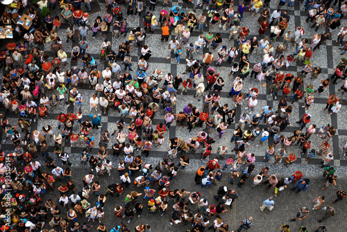 Fotografie, Obraz  Aerial photograph of people gathered in a square