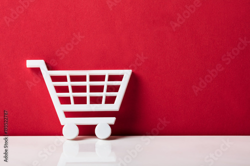 Fototapeta Close-up Of A White Shopping Cart obraz