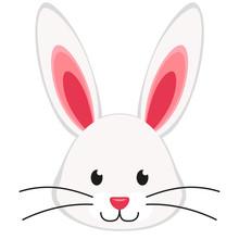 Cartoon Rabbit Bunny Face Icon...