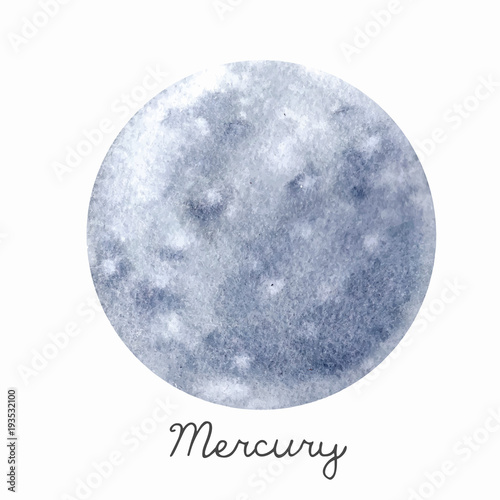 Fotografie, Obraz  Watercolor Mercury planet vector illustration