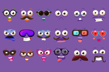 Funny Faces Se With Different Emotions Vector Illustrations, Smiles Characters For Site, Video, Animation, Websites, Infographics, Messages, Comics, Newsletters