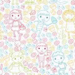 Fototapeta samoprzylepna Spring. Easter. Little garden. Children play. Easter cake, bunny, rabbit. Boys and girls. Kindergarten or school spring vacation. Butterfly, bee and flowers. Vector doodle image