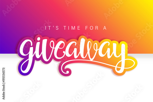 Fotografiet  Giveaway Banner Card with Lettering. Colorful design.