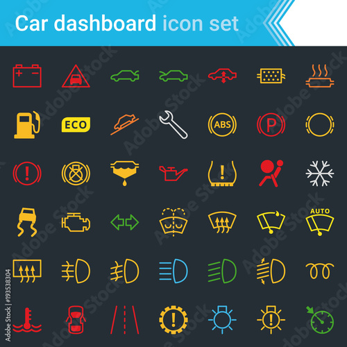 Colorful Car Dashboard Interface And Indicators Icon Set Service